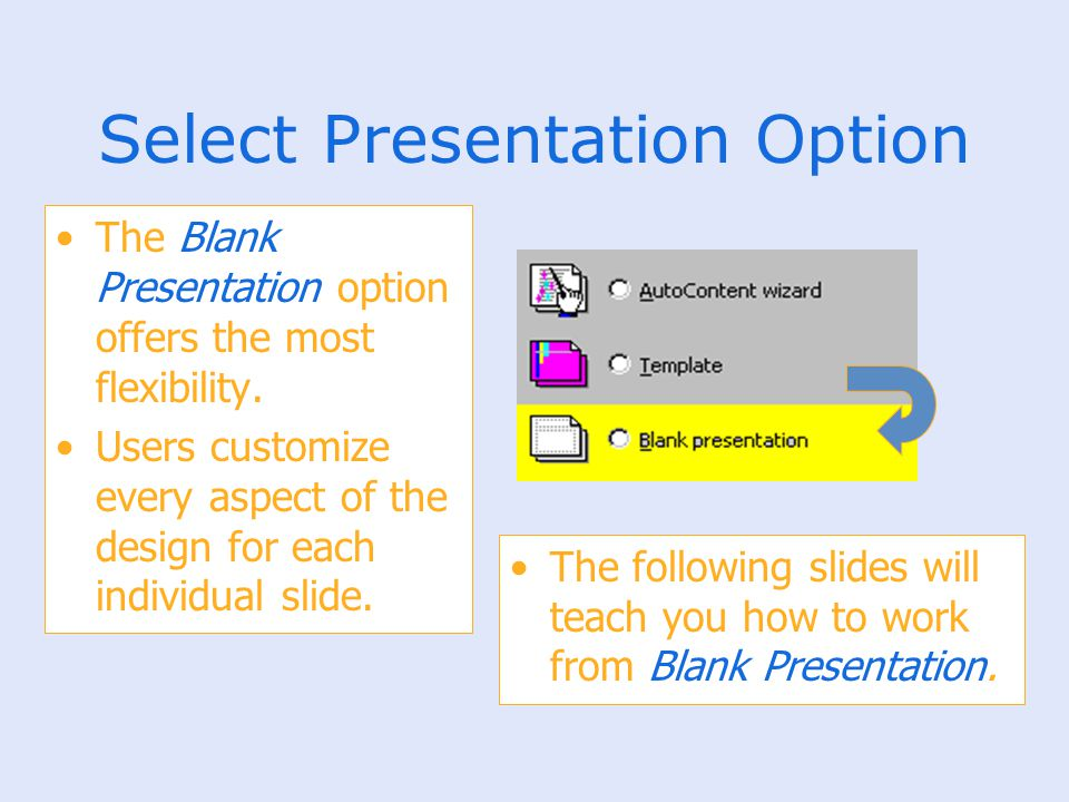 Select Presentation Option