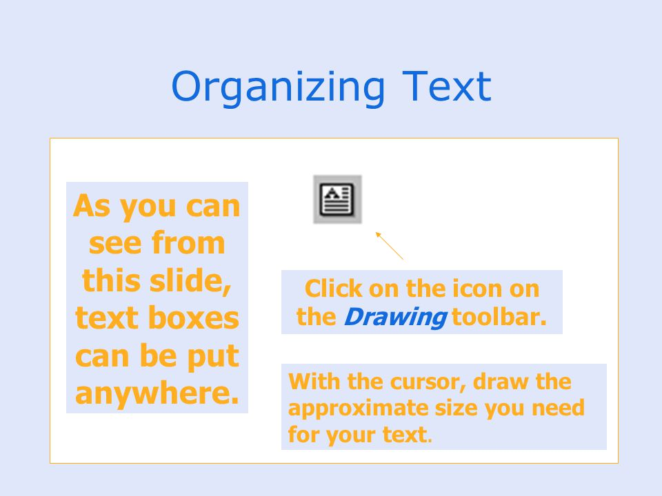 Organizing Text As you can see from this slide, text boxes can be put anywhere. Click on the icon on the Drawing toolbar.