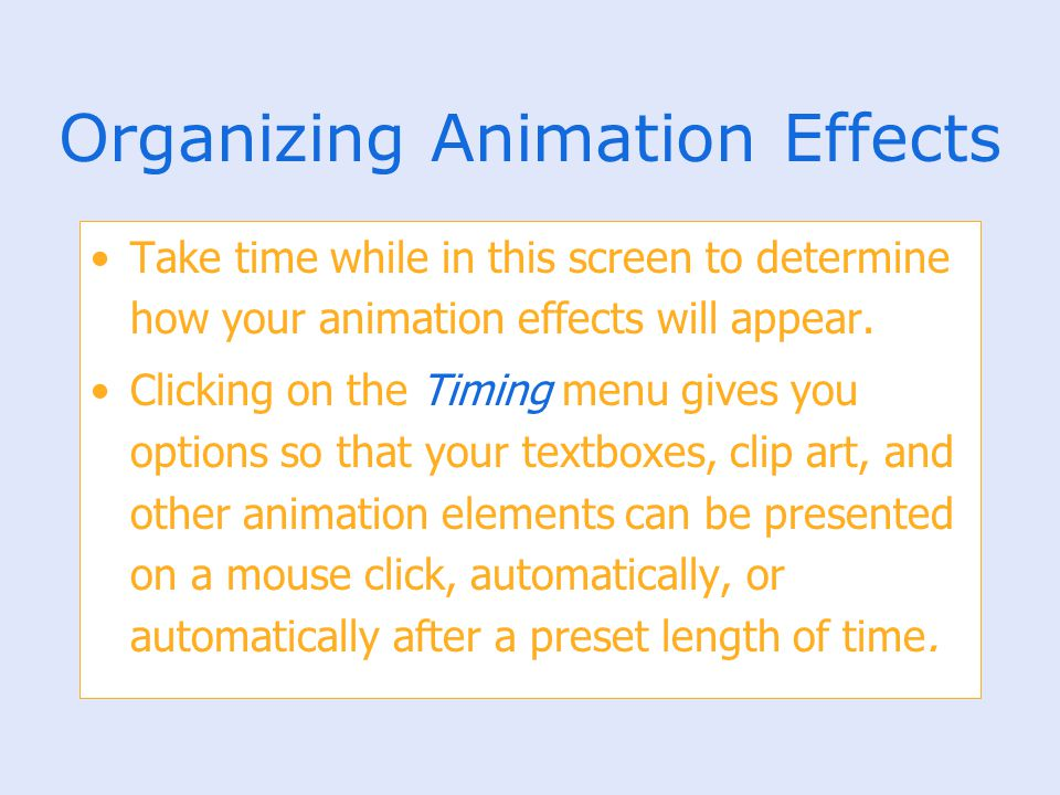 Organizing Animation Effects