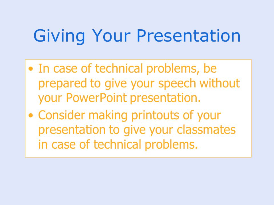 Giving Your Presentation