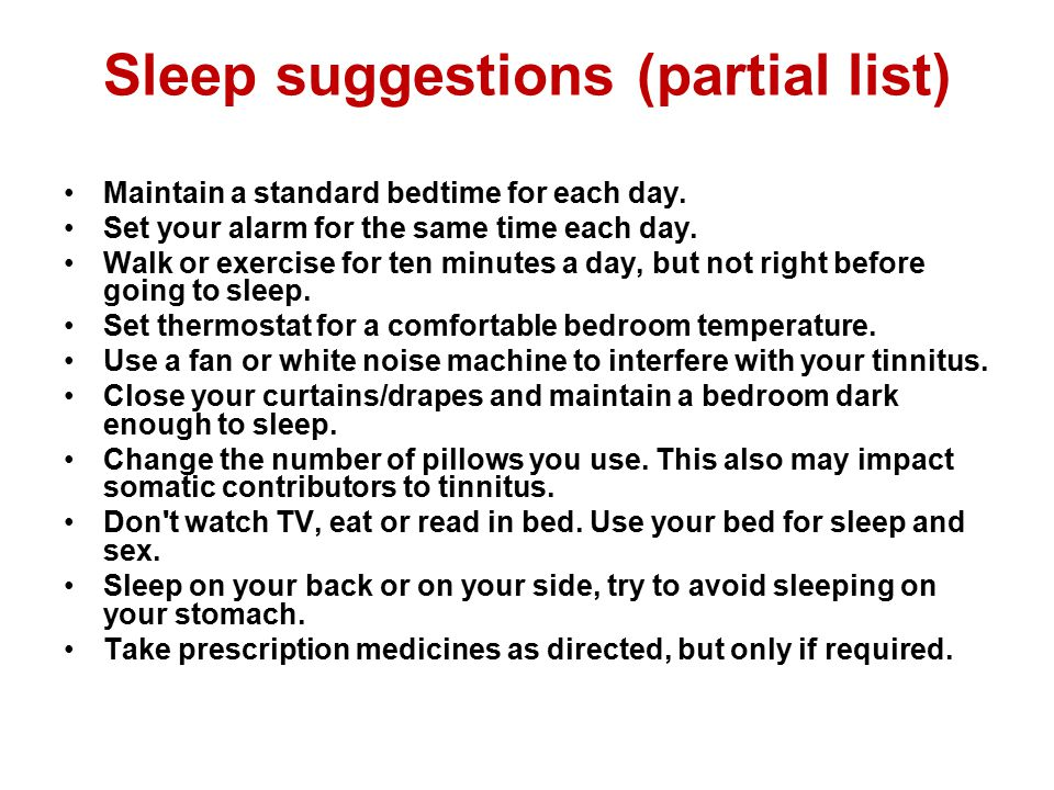 Sleep suggestions (partial list)