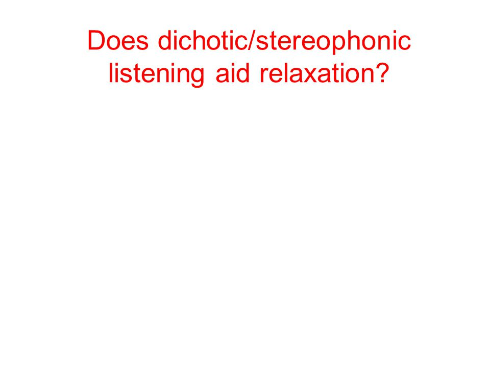 Does dichotic/stereophonic listening aid relaxation