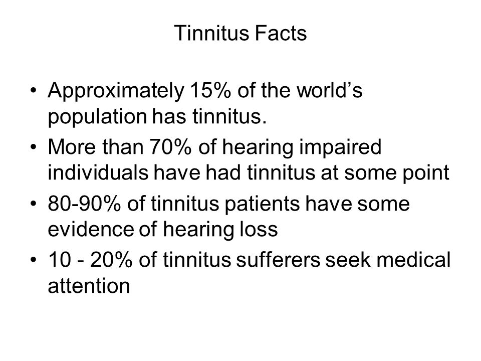 Approximately 15% of the world's population has tinnitus.