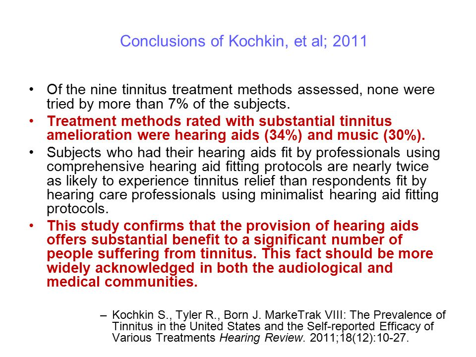Conclusions of Kochkin, et al; 2011