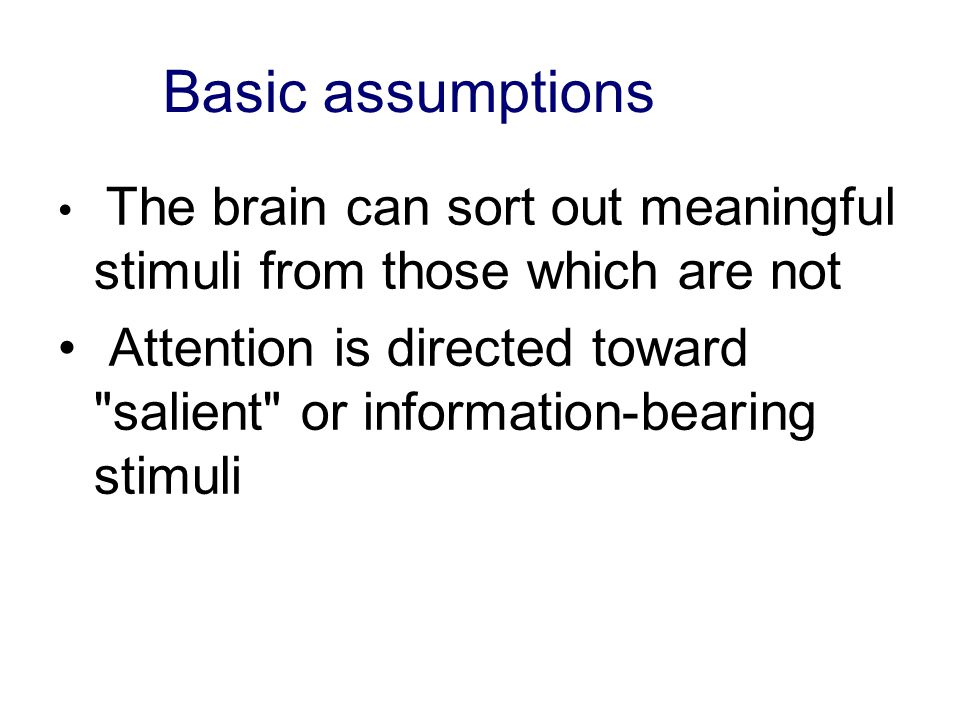 Basic assumptions The brain can sort out meaningful stimuli from those which are not.
