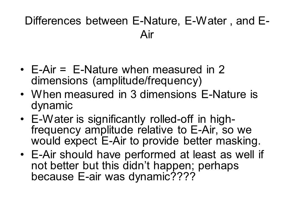 Differences between E-Nature, E-Water , and E-Air