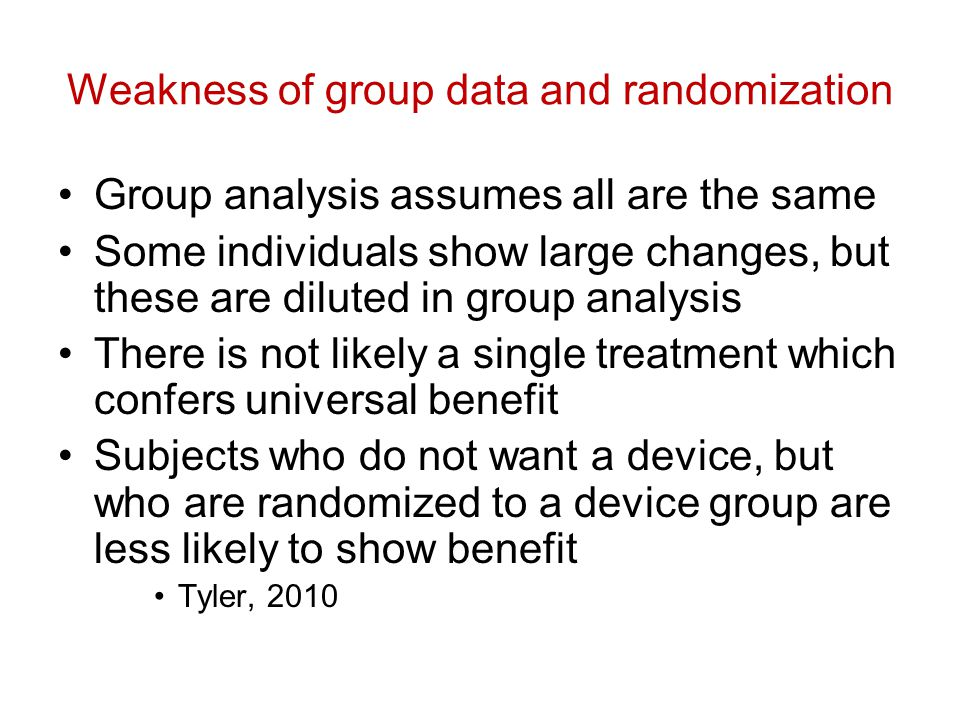Weakness of group data and randomization