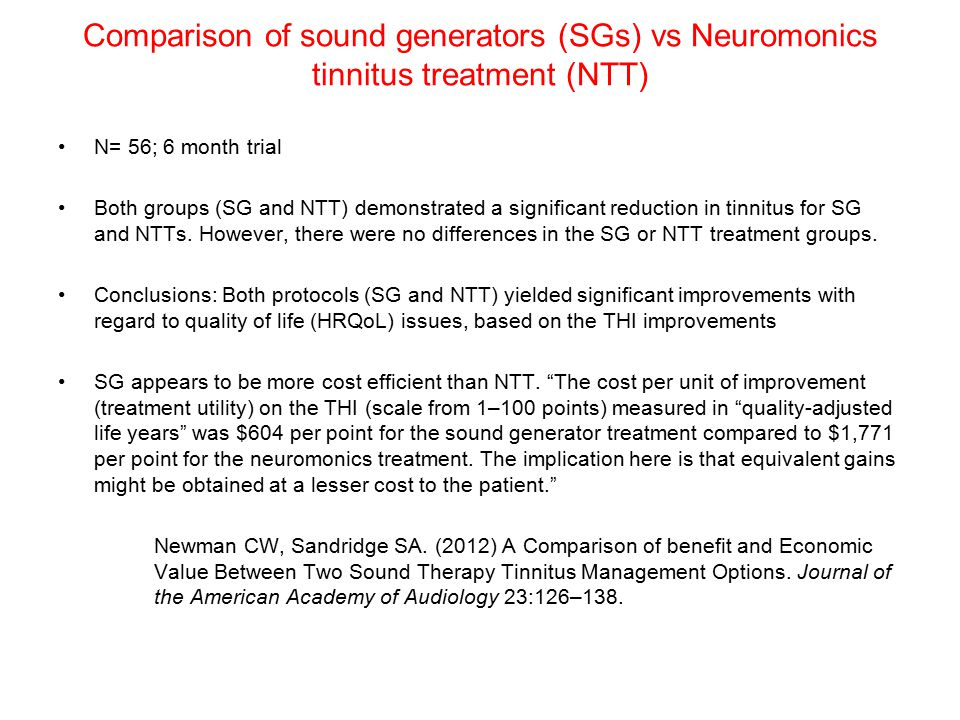 Comparison of sound generators (SGs) vs Neuromonics tinnitus treatment (NTT)