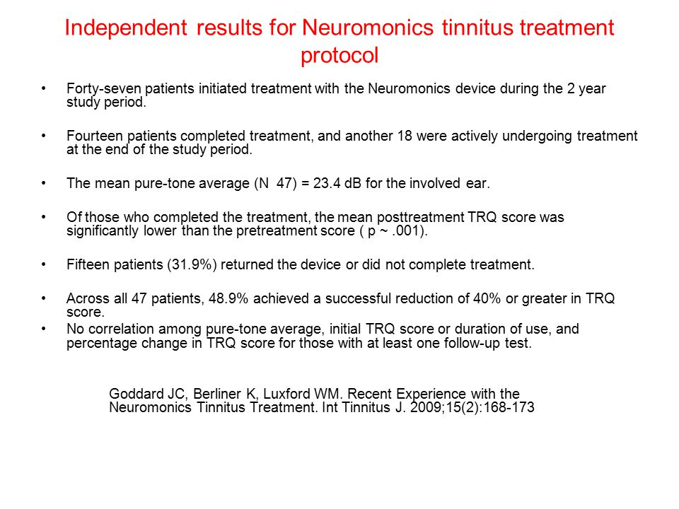 Independent results for Neuromonics tinnitus treatment protocol