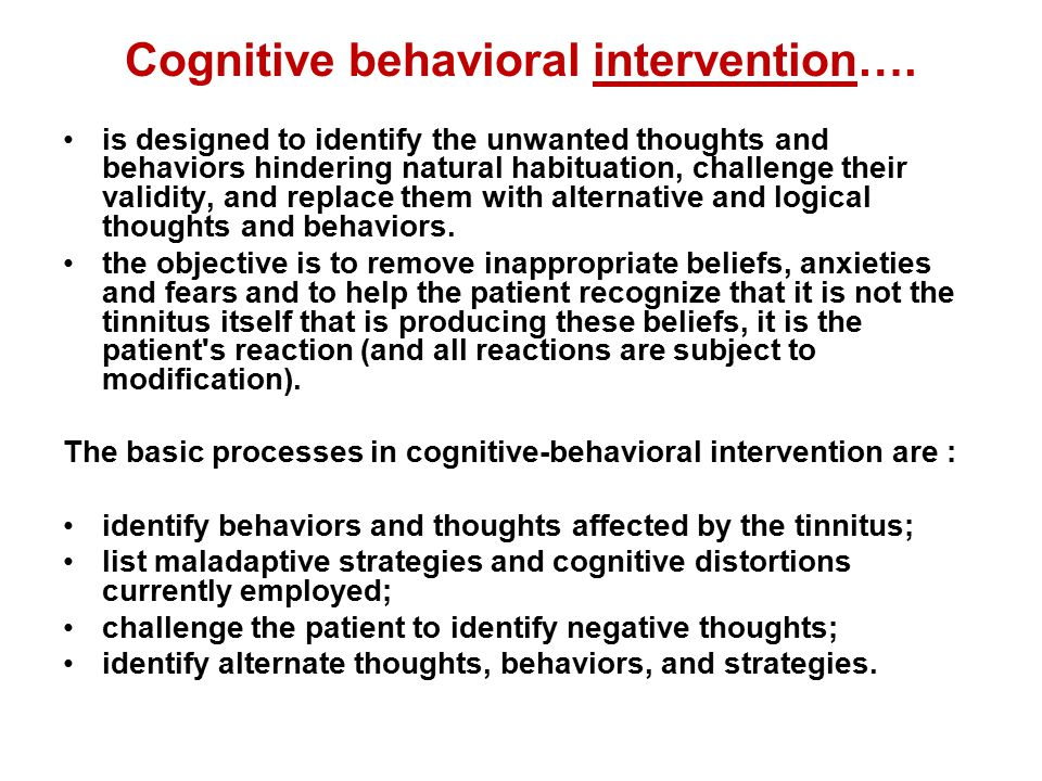 Cognitive behavioral intervention….