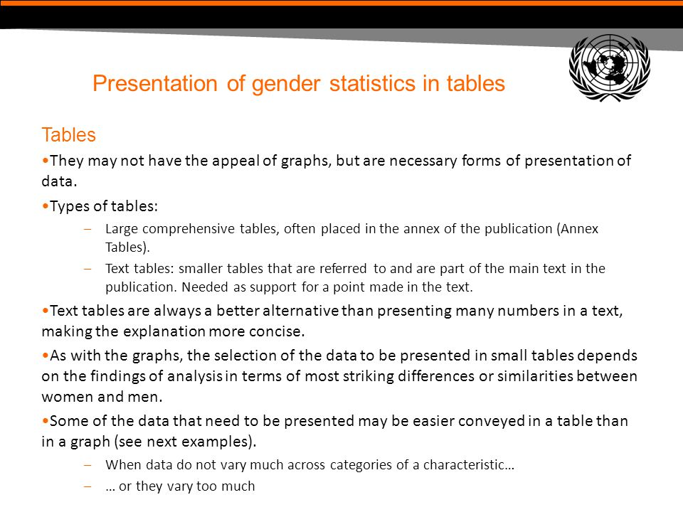 Presentation of gender statistics in tables