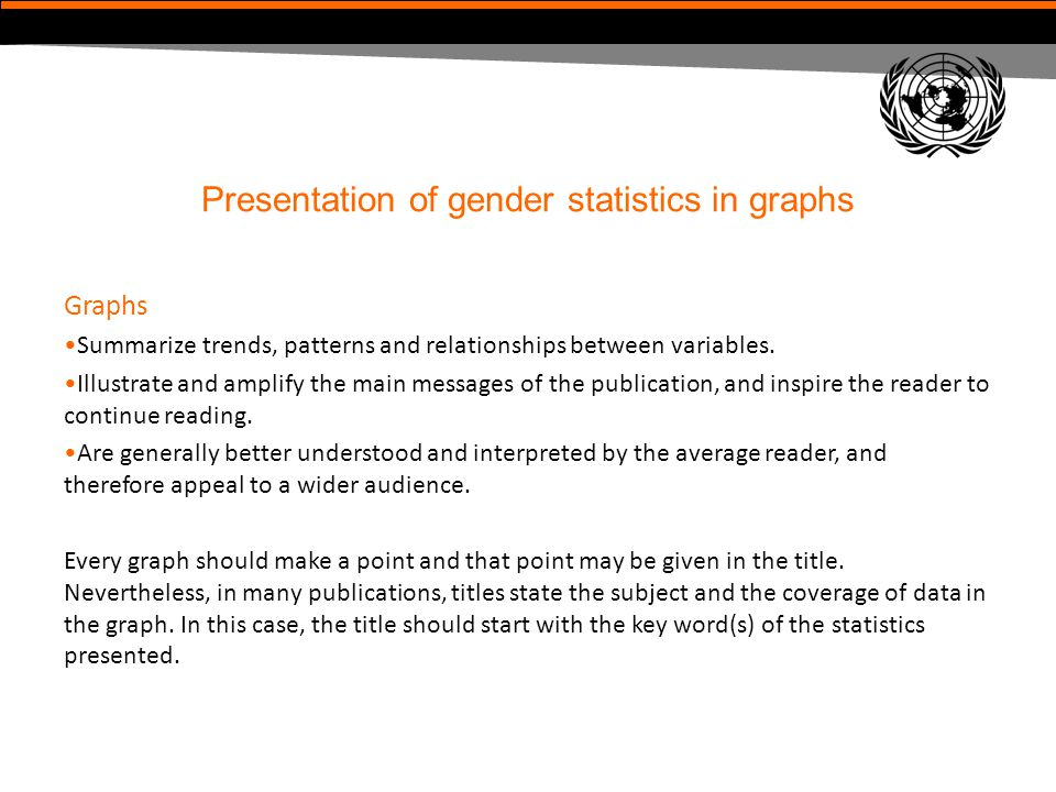 Presentation of gender statistics in graphs