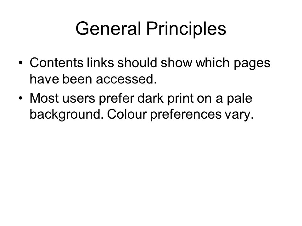 General Principles Contents links should show which pages have been accessed.