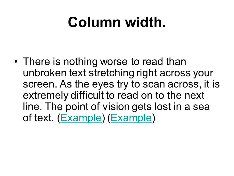 Column width.