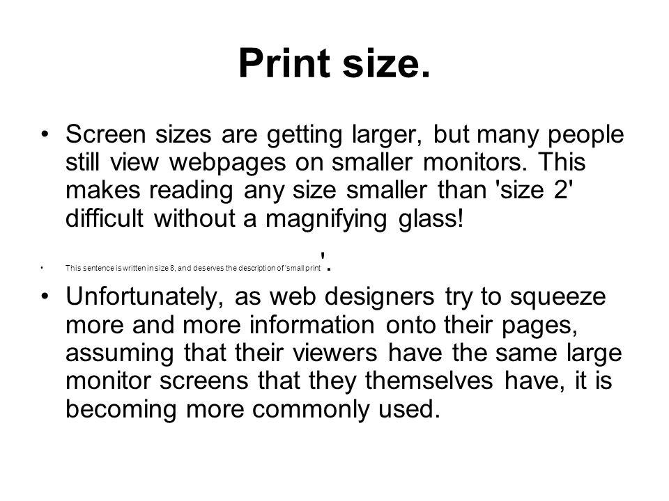 Print size.