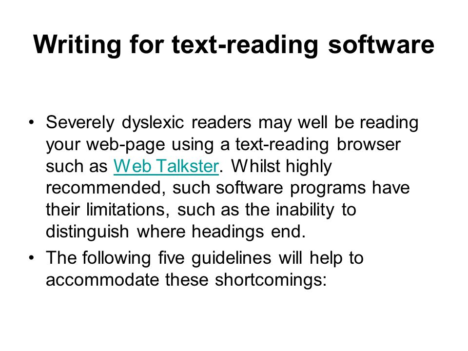 Writing for text-reading software