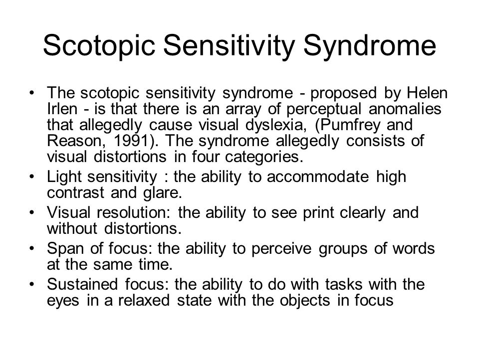 Scotopic Sensitivity Syndrome