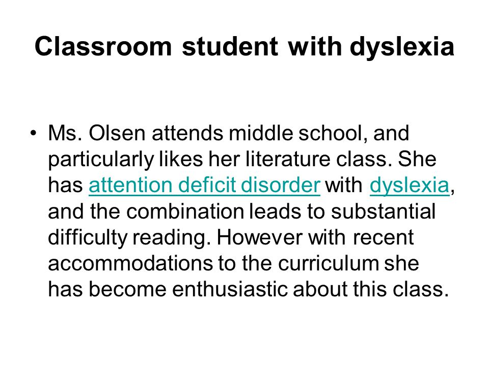 Classroom student with dyslexia