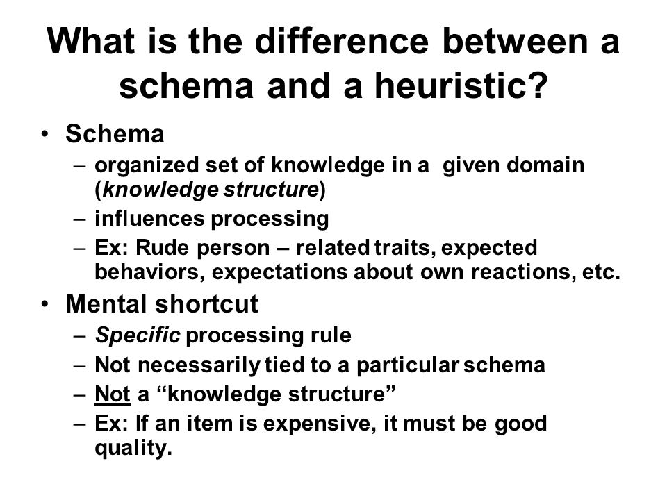 What is the difference between a schema and a heuristic
