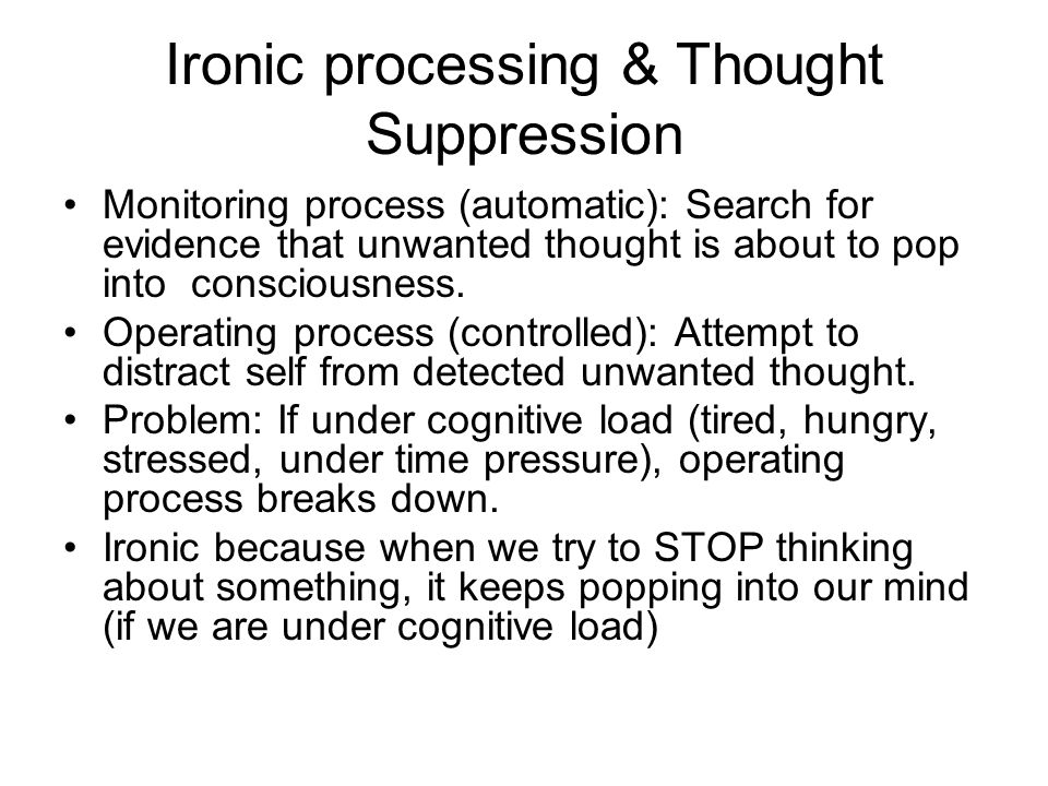 Ironic processing & Thought Suppression