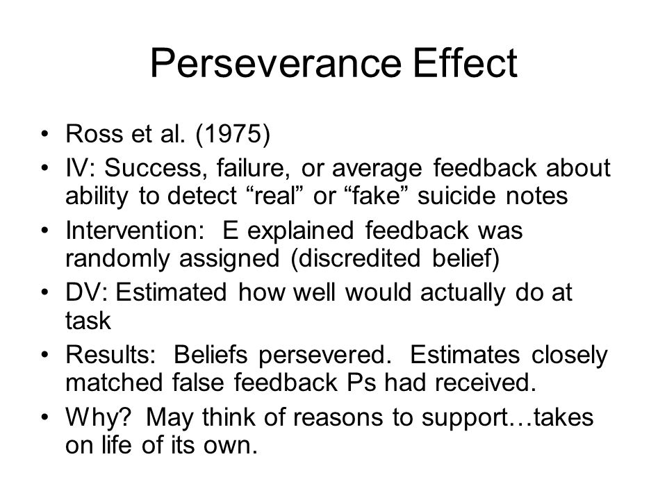 Perseverance Effect Ross et al. (1975)