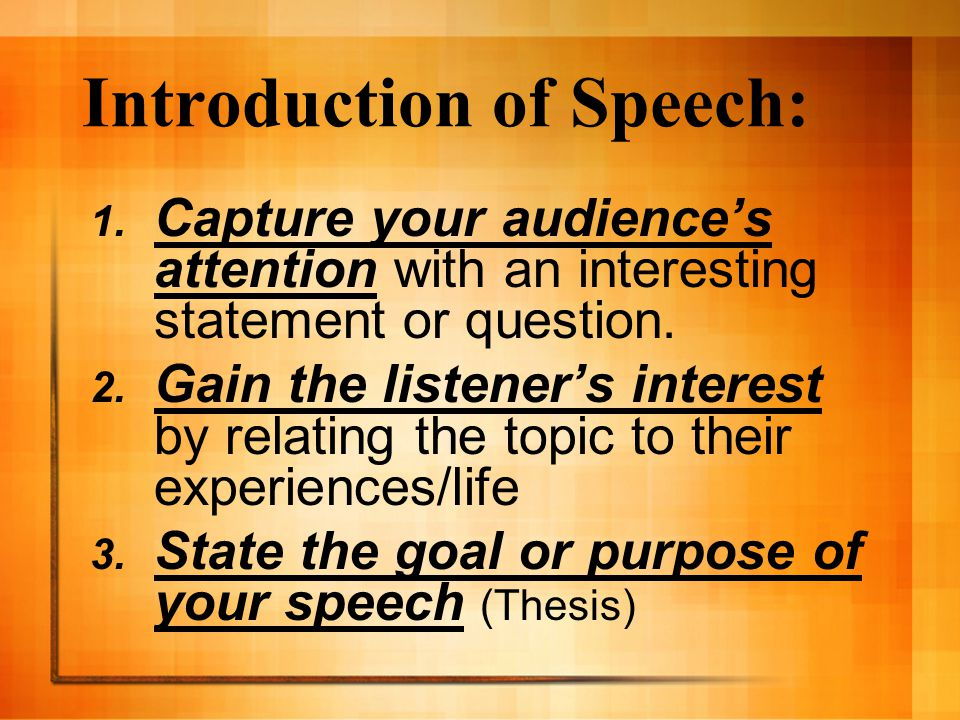 Introduction of Speech: