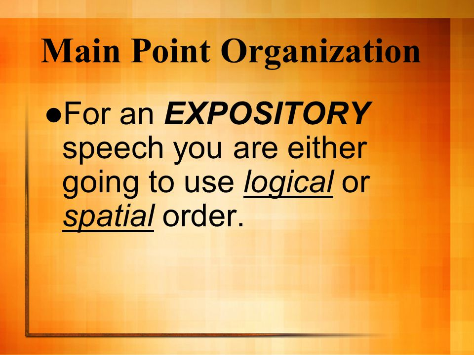 Main Point Organization
