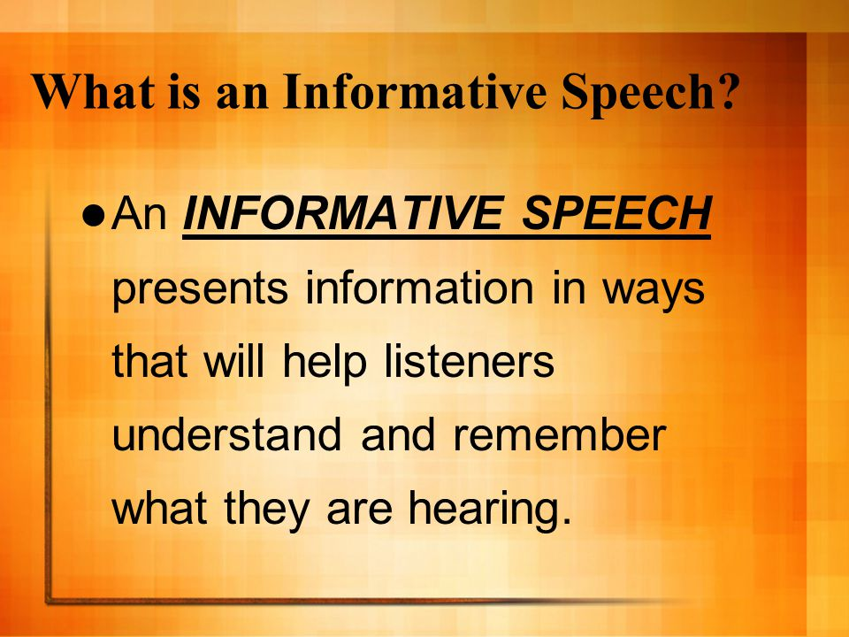 informative speech importance of art A specific purpose statement for an informative speech will be phrased much like the following statements click here for more examples of specific purposes, central ideas, and main points informative speech specific purpose statements.