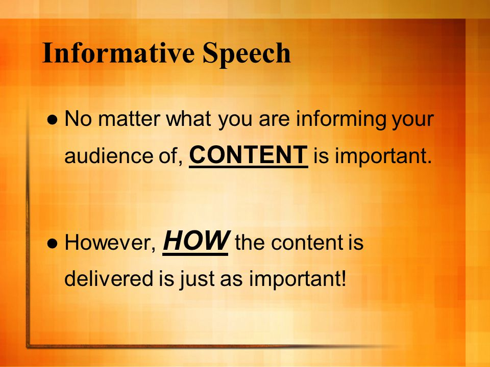 what is a informative speech Informative speaking generally centers on talking about people, events, processes, places, or things informing an audience about one of these subjects without being.