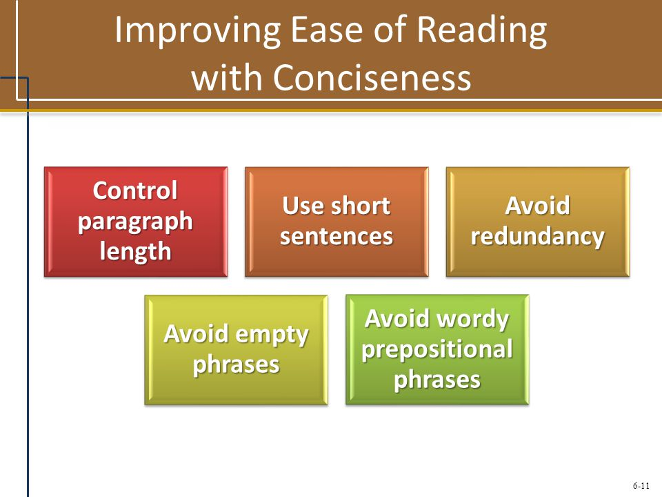 Improving Ease of Reading with Conciseness
