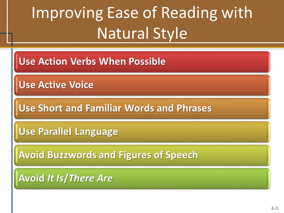 Improving Ease of Reading with Natural Style
