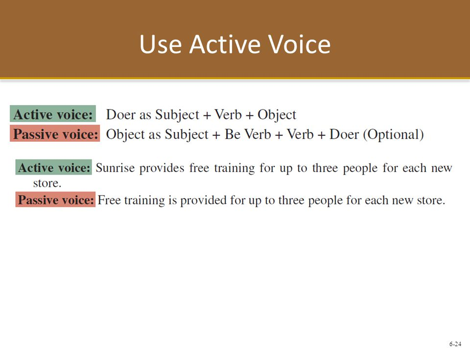 Use Active Voice