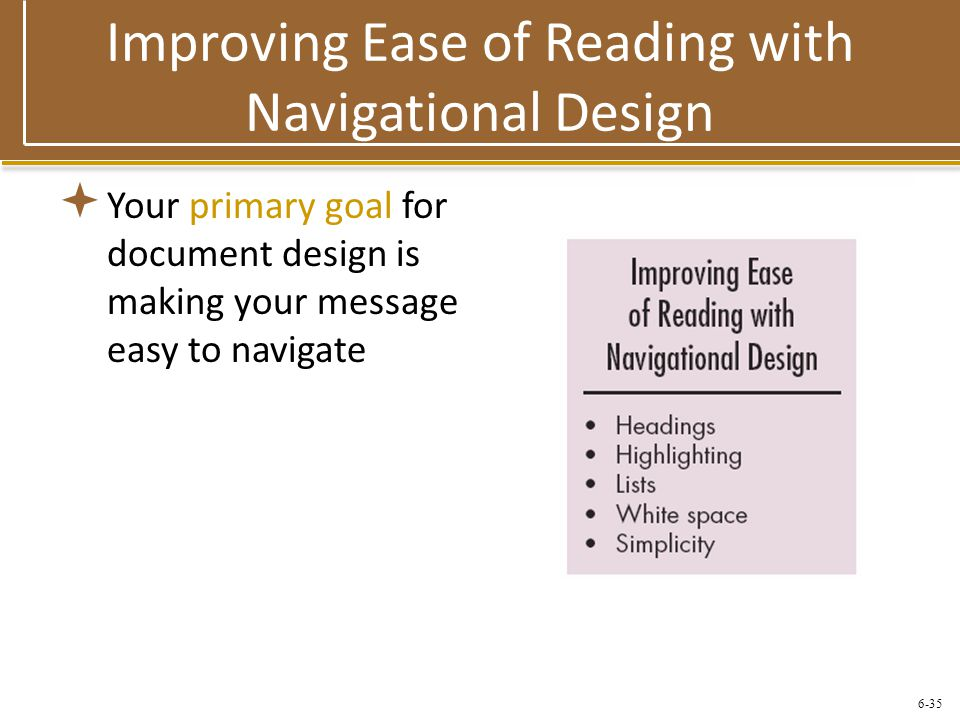 Improving Ease of Reading with Navigational Design
