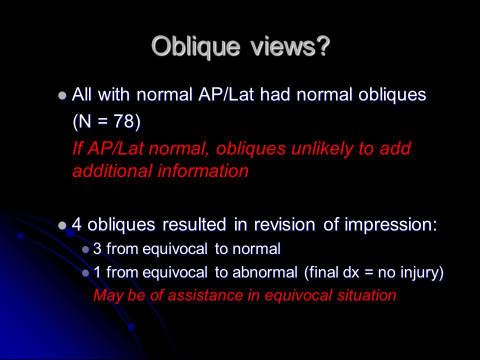 Oblique views All with normal AP/Lat had normal obliques (N = 78)