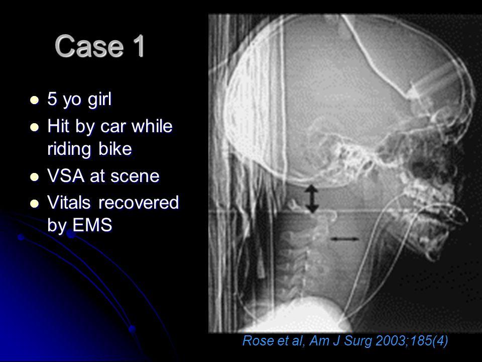 Case 1 5 yo girl Hit by car while riding bike VSA at scene