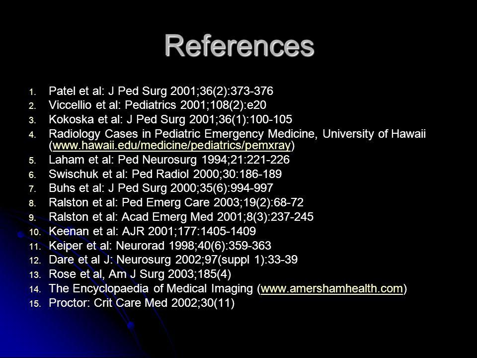 References Patel et al: J Ped Surg 2001;36(2):373-376