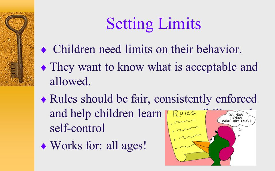 Setting Limits Children need limits on their behavior.