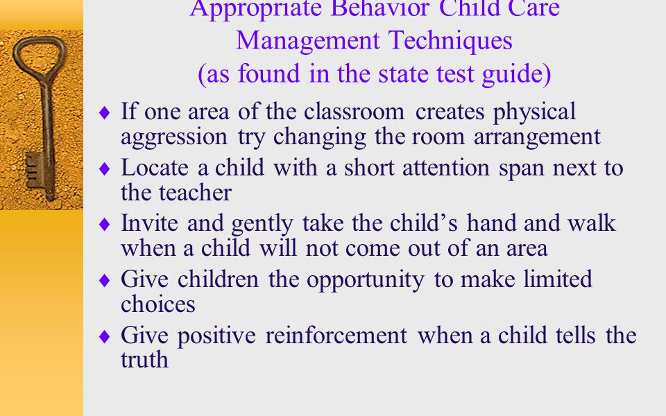 Appropriate Behavior Child Care Management Techniques (as found in the state test guide)
