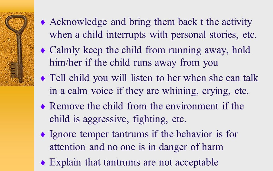 Acknowledge and bring them back t the activity when a child interrupts with personal stories, etc.