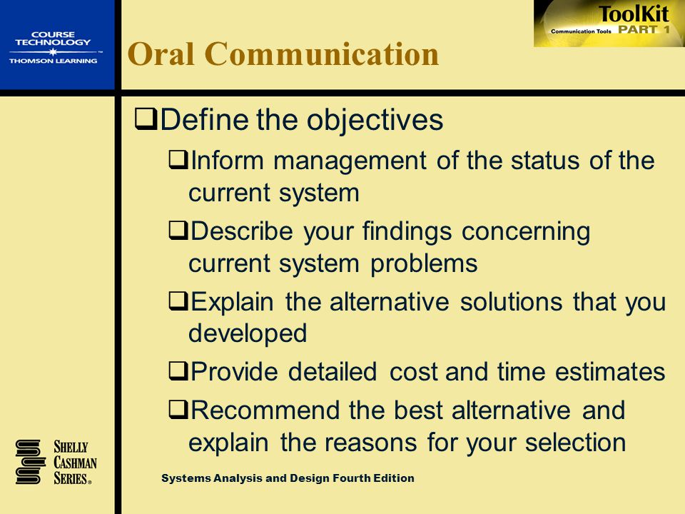 Oral Communication Define the objectives