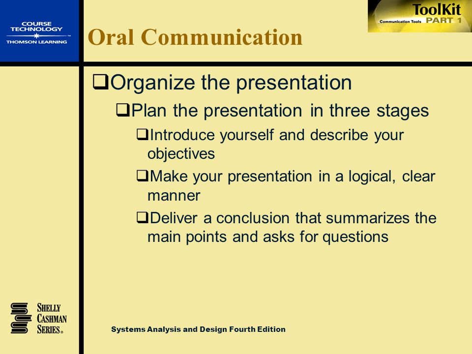 Oral Communication Organize the presentation