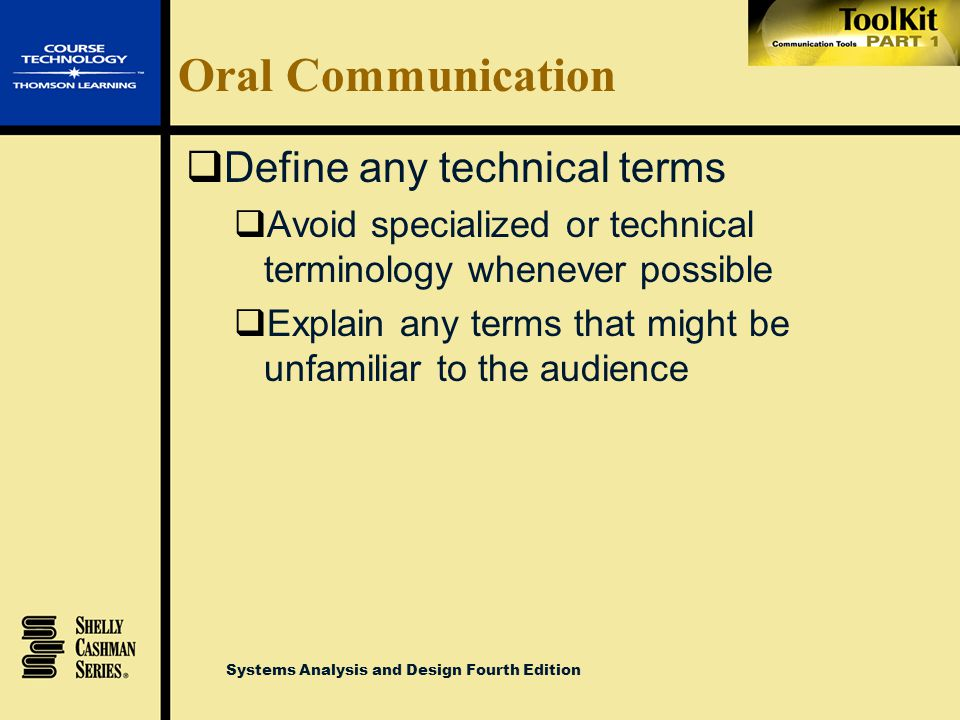 Oral Communication Define any technical terms
