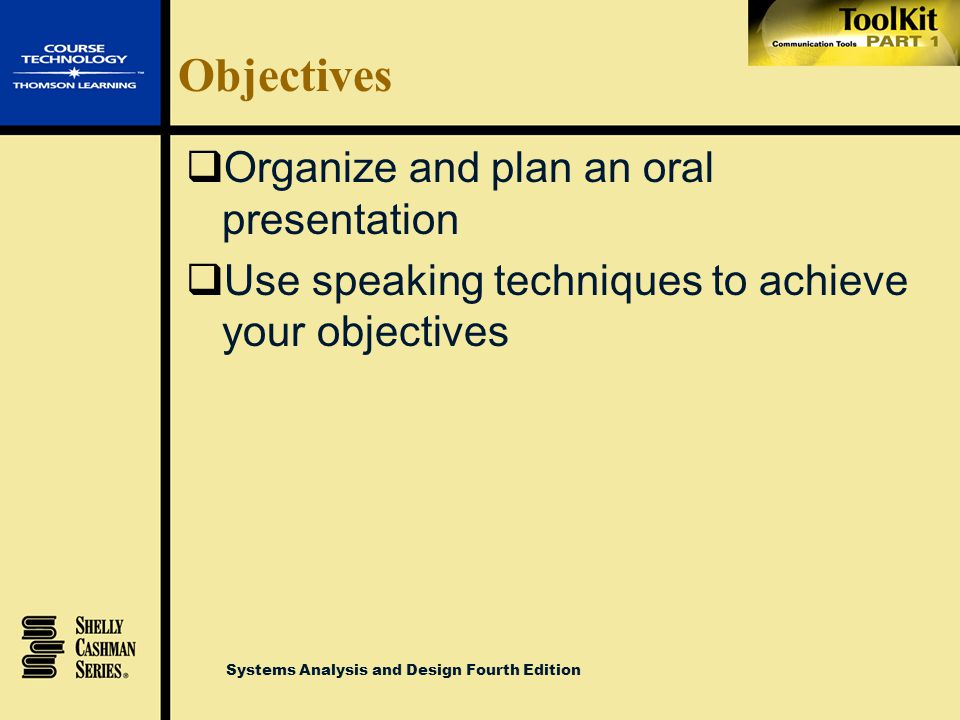 Objectives Organize and plan an oral presentation