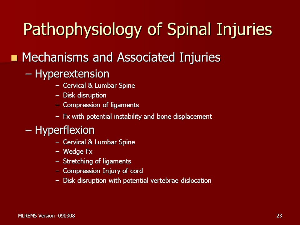 Pathophysiology of Spinal Injuries