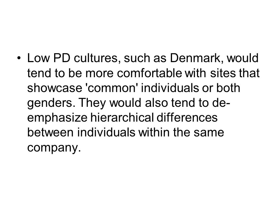Low PD cultures, such as Denmark, would tend to be more comfortable with sites that showcase common individuals or both genders.