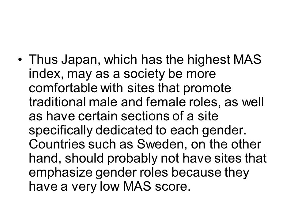 Thus Japan, which has the highest MAS index, may as a society be more comfortable with sites that promote traditional male and female roles, as well as have certain sections of a site specifically dedicated to each gender.