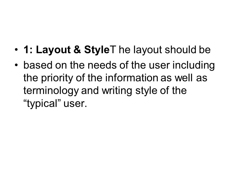 1: Layout & StyleT he layout should be