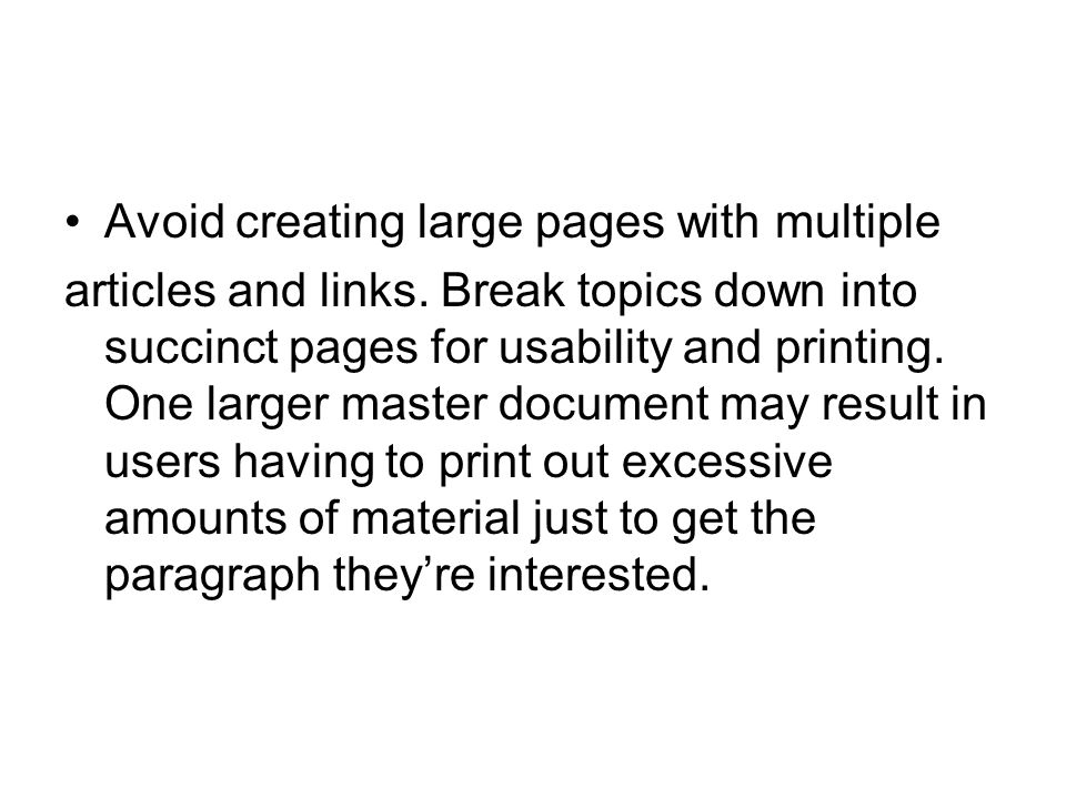 Avoid creating large pages with multiple
