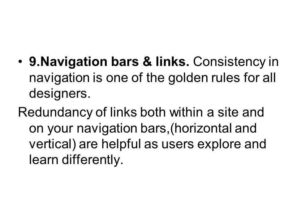 9. Navigation bars & links