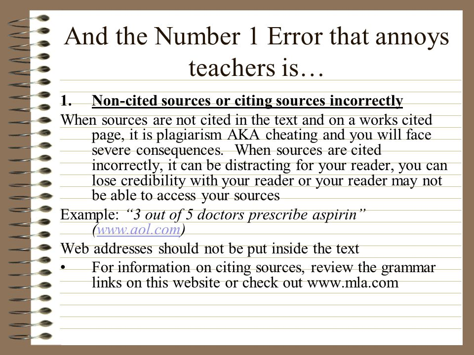 And the Number 1 Error that annoys teachers is…